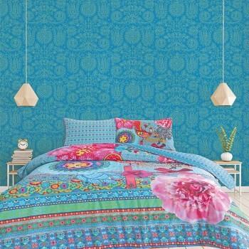 Wandbild Blumen Blau Feine Verzierungen