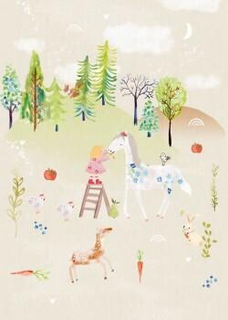 Wandbild Beige Wald Pferd Berge