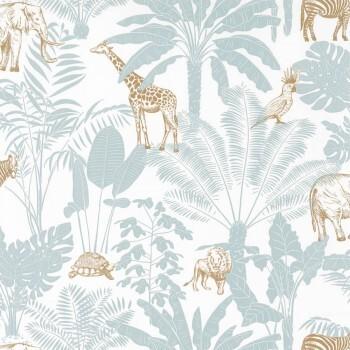 Vliestapete Dschungel Tiere Weiß Grau Ocker Our Planet
