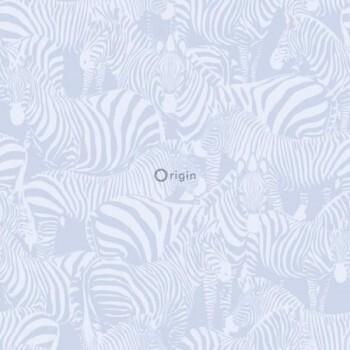 Vliestapete Glänzend Zebra Blau