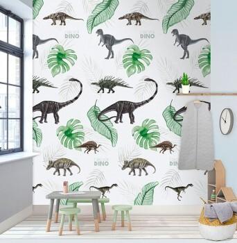 Wandbild Dinosaurier Weiß Grün