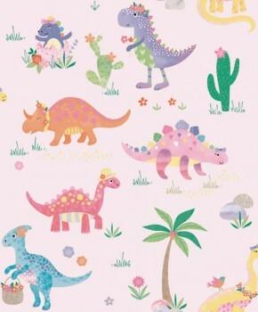 Tapete Rosa Schimmer Dinosaurier