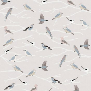 Wandbild Äste Vögel Hell-Grau