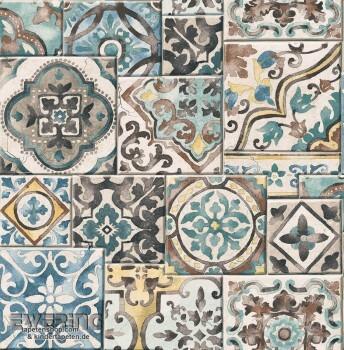 23-022315 Reclaimed Rasch Textil Kachelmuster Vliestapete bunt