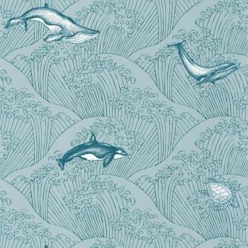 Tapete Vlies Meer Hell-Blaue Wellen Wale Our Planet