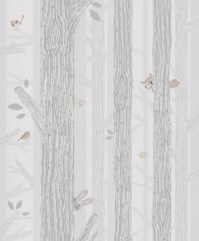 Bäume Vögel Vliestapete Grün