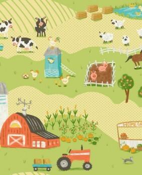 Papiertapete Bauernhof Tiere Hellgrün Gelb