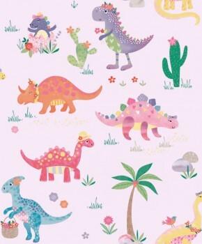 Tapete Dinosaurier Zart-Lila Schimmer