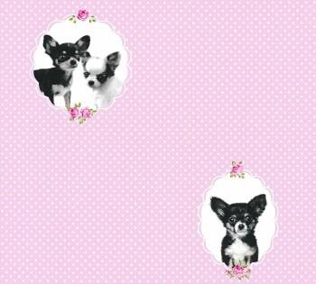 Vlies Tapete Rosa Punkte Hunde