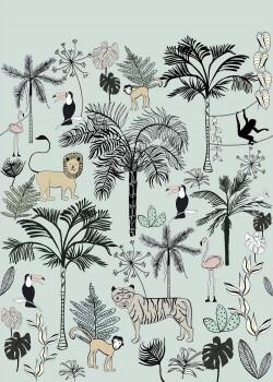 Wandbild Hell-Blau Dschungel Tiere