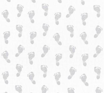 Vliestapete Fußabdrücke Baby Silber