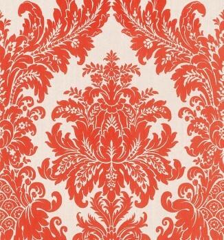 23-077260 Cassata Rasch Textil orange-rot Ornament Textiltapete