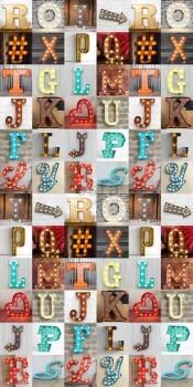 Wandbild Buchstaben Licht Vlies Bunt