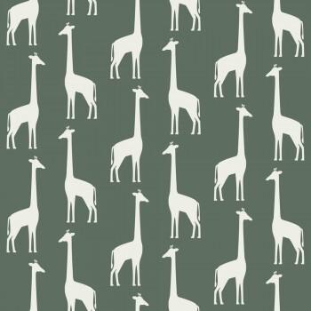 Tapete Giraffen Dunkel-Grün