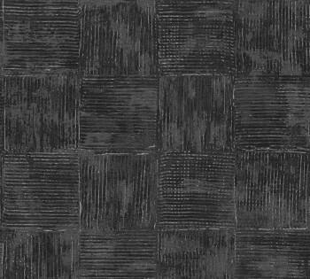 Vliestapete AS Creation Saffiano 33989-3, 339893 schwarz Quadrate