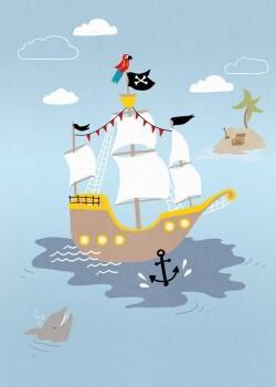Wandbild Blau Großes Piratenschiff