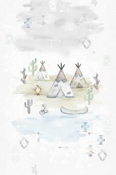 Wandbild Vlies Tipis Grau Indianer