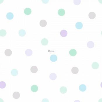Vliestapete Blau Lila Grün Pastell Punkte