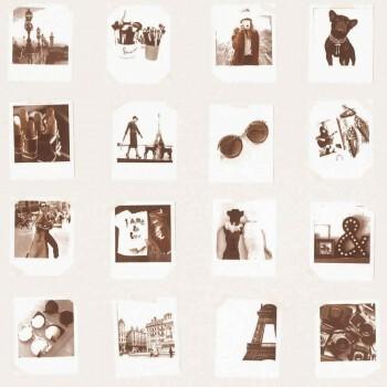 Kupfer Creme Vliestapete Polaroids