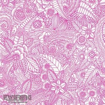 23-148614 Cabana Rasch Textil Mandala pink Blüten-Muster Tapete