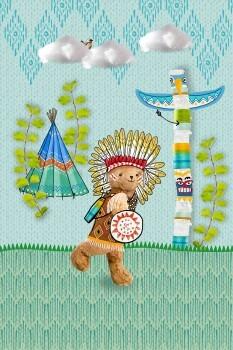 Wandbild Grün Blau Indianer