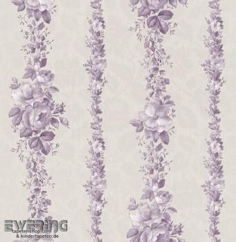 Strictly Stripes 23-362380 hell-grau Vinyltapete Blumenranken