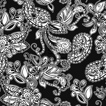 Vliestapete Funky Blumen Paisleys Schwarz Weiß