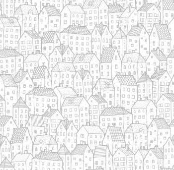 Papiertapete Silber Häuser