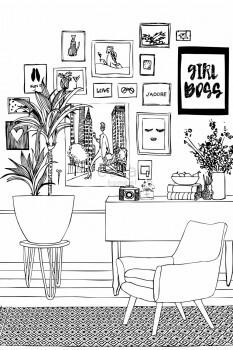 Wandbild Schwarz Weiß Vlies Wohnzimmer