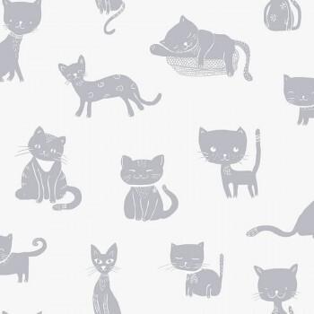 Tapete Katzen Vlies Weiß Silber