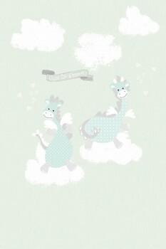 Wandbild Drachen Mint-Grün