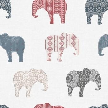 Tapete Elefanten Blau Rot