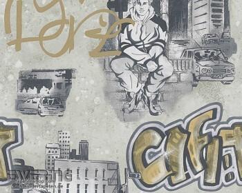 Graffiti Taupe Papier