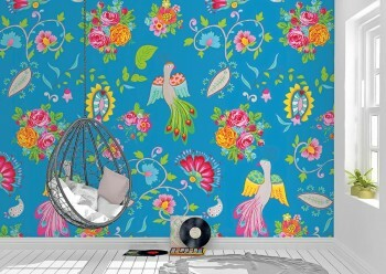 Wandbild Pfau Motive Blau Blumen