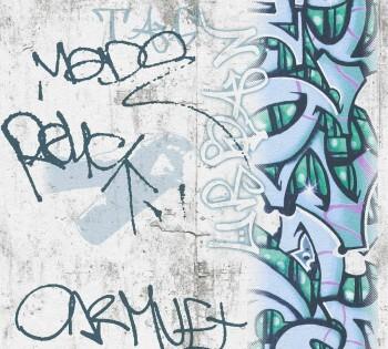 Tapete Blaugrünes Graffiti