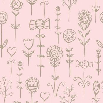 Tapete Candy Blumenmotive Rosa Gold