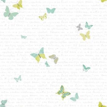 Papiertapete Grün Schmetterling