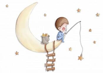 Mond Sterne Wandsticker Junge