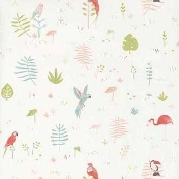 Vögel Tropisch Tapete Weiß
