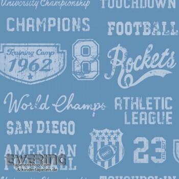 Football-Schrift Blau Papiertapete