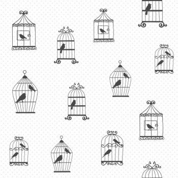 Tapete Weiß Vogelkäfige