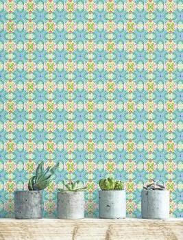 Wandbild Kaleidoskop Blumen Blau Grün