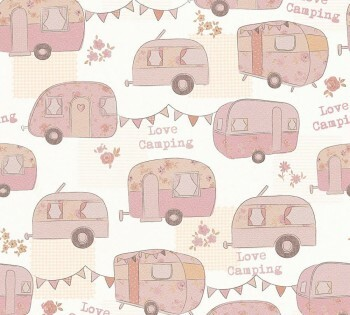 Papier Tapete Rosa Camping