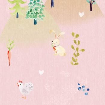 Wandbild Vlies Rosa Wald Tiere