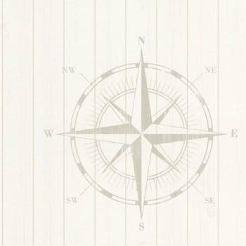 Holztapete Kompass Perlweiß