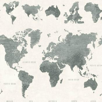 Weltkarte Tapete Weiß Grün