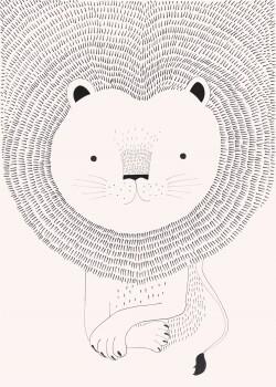 Löwe Wandbild Vlies Mähne Rosa