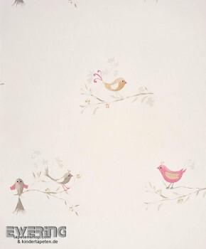 Vögel Papiertapete Creme-Weiß