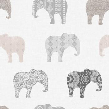Vlies Tapete Graue Elefanten