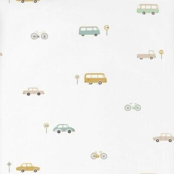 Fahrzeuge Tapete Weiß Vlies